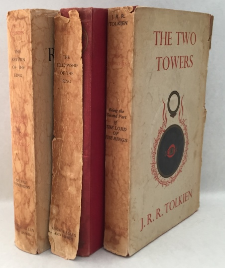 Tolkien, J.R.R., - The Lord of the Rings. I. The fellowship of the ring [5th imp., 1956]. II. The two towers [5th imp., 1957]. III. The return of the king. [4th imp., 1958]. [3 vols., including badly damaged dustjackets!]